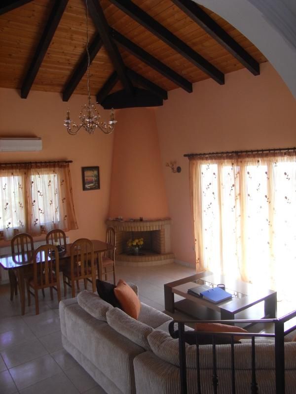 The lounge with vaulted ceiling