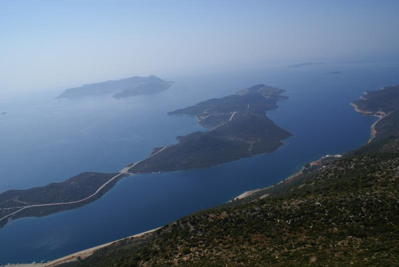 From the mountains a picture of the Cukurbag Peninsula and the Greek Island Kastellorizo