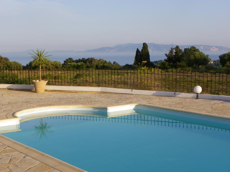 Pool terrace and view to Zakynthos