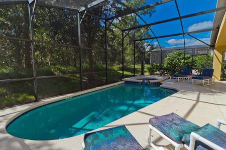 Private pool and spa next to conservaton woodland