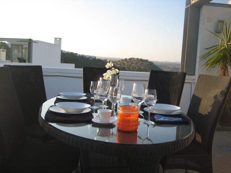Dinner on the Roof Terrace with mountain view