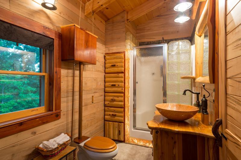 casa de banho privativa com duche e banheira de hidromassagem.