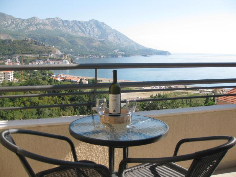 Amazing views of Becici bay and surrounding mountains from the large double fronted balcony