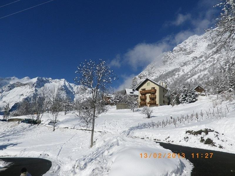 Winter view of the house