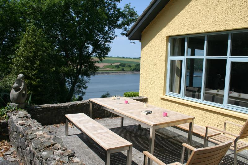 Patio area with water views