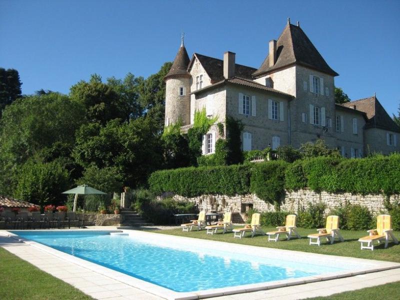 Heated Swimming Pool at Château de Lamostonie