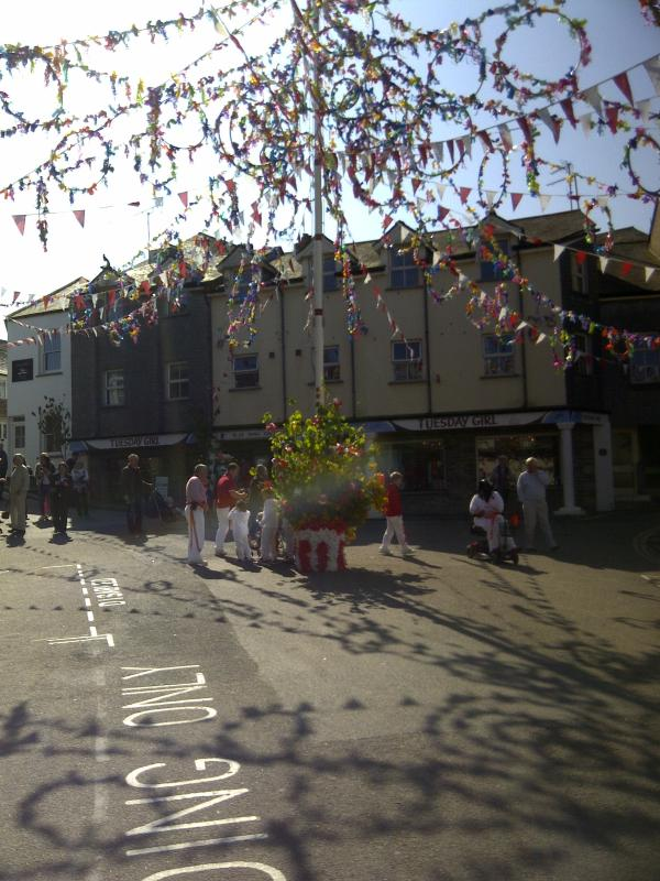 Maypole in town centre square on !st May