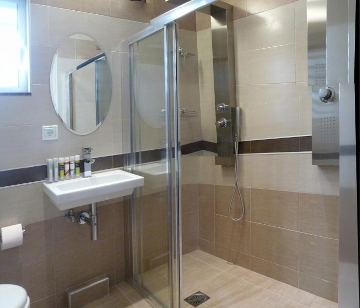 Double walk in spa shower