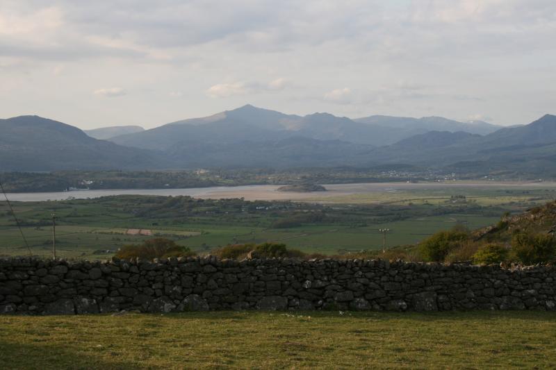 Stunning views from garden across estuary to Snowdon