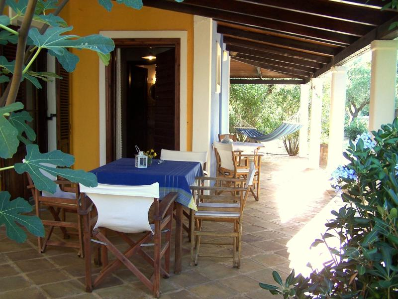 The furnished terrace makes a comfortable large extra living room.
