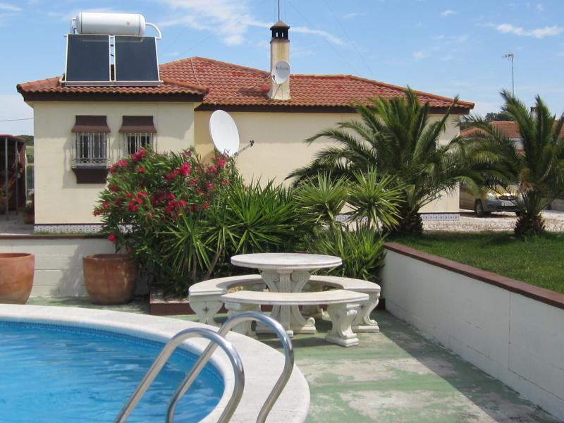 View from pool area to villa