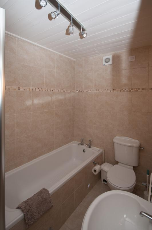 Bathroom which also has walk in shower