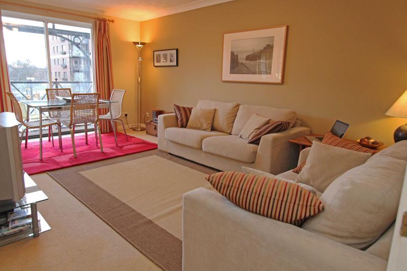 Appartement lounge met 2 sofa's en eethoek op zoek naar balkon en rivier