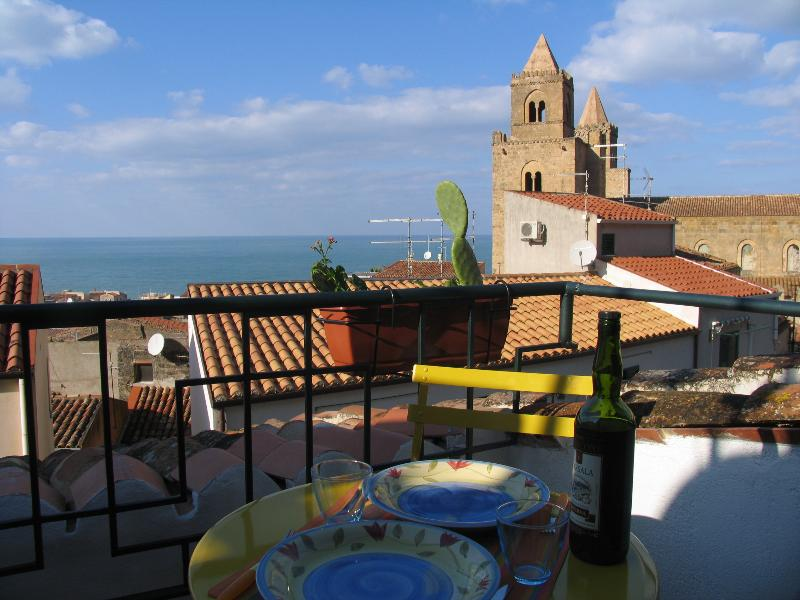 Landscape of Cefalù from the balcony