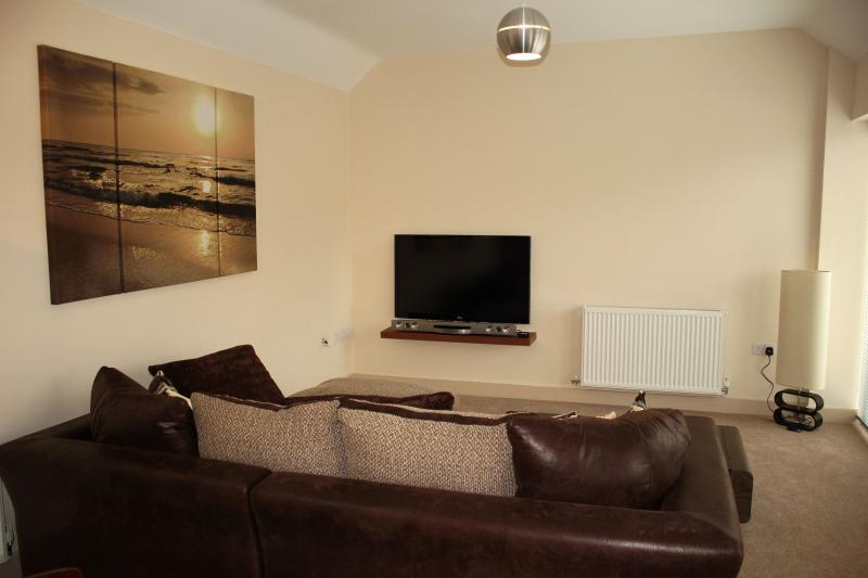 Relxing lounge area with 3D LCD TV, DVD, iPod dock, surround sound, free wifi