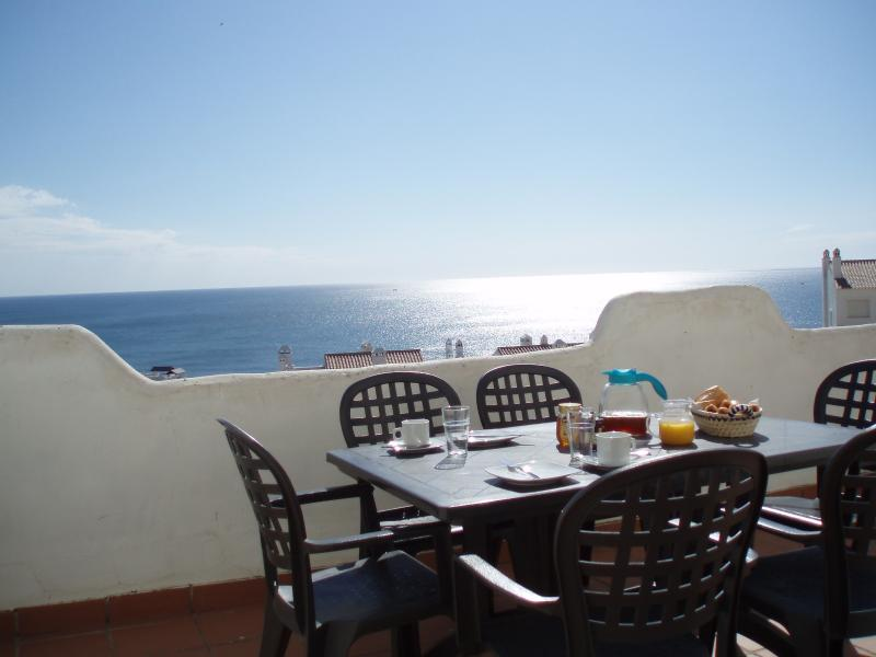 Large main terrace with amazing sea views that enjoys sun for most of the day.  Our favourite room!