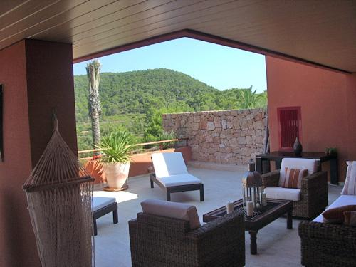 View of terrace with Roca Llisa in the backdrop