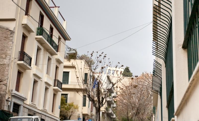 Our street with the Acropolis on the background