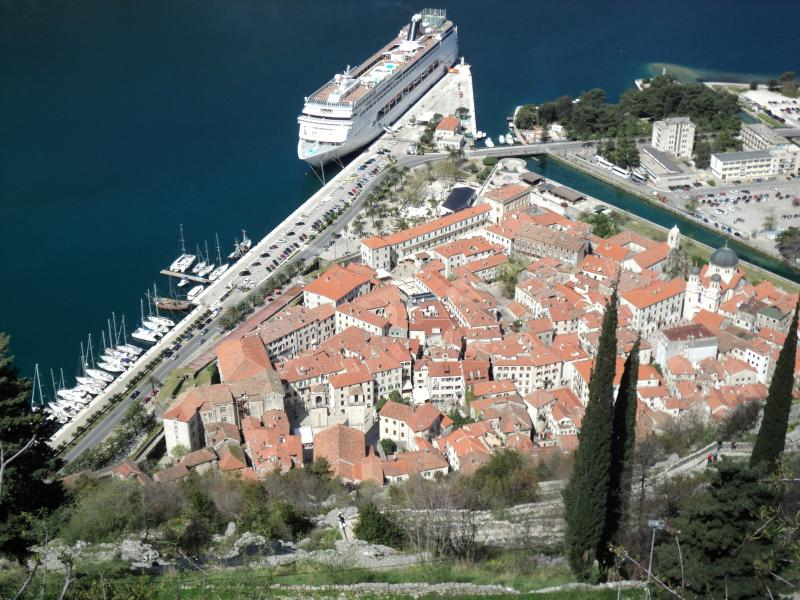 View of Kotor Old Town and marina from the Old City wall