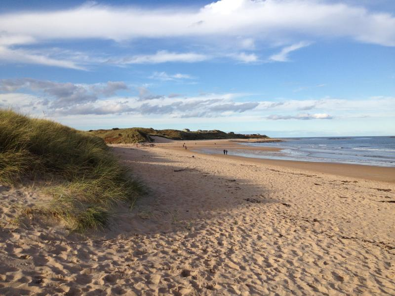 The view looking north from Embleton Bay, just a stroll up the beach to the village of Low Newton.