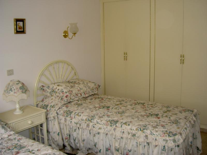 Bedroom 3. Twin bedded room with two double wardrobes.  Plus safe in the wardrobe.