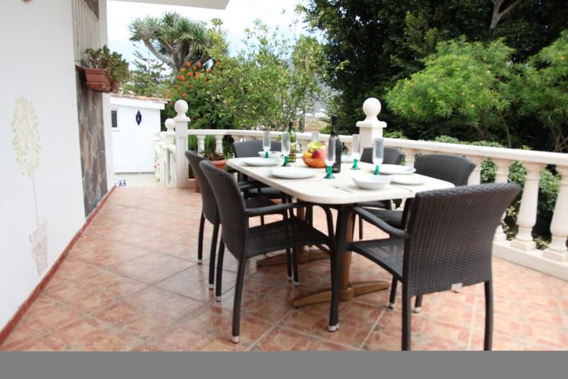 Dine outside overlooking pool and sea.  Also a BBQ on patio for you to use.