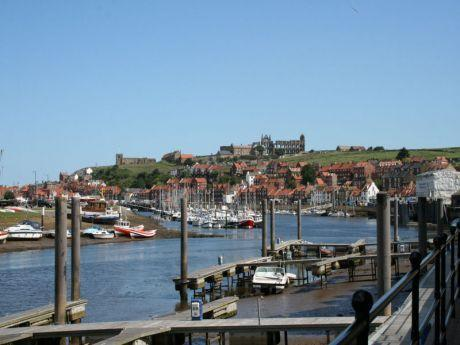 View of Whitby Abbey from the riverside walk at the side of the apartment block.