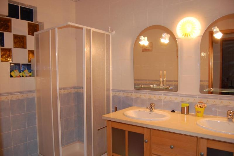 bathroom with shower and 2 hand wash basins