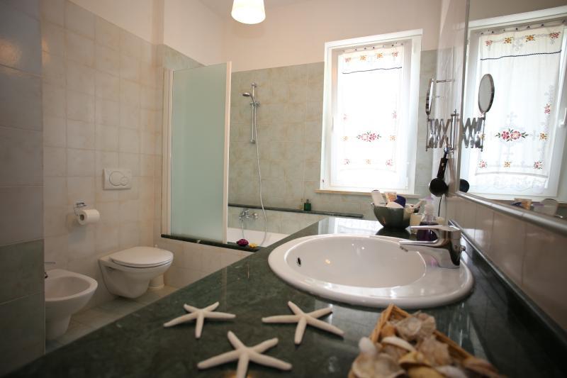 Bagno moderno, confortevole, con vasca e doccia e sanitari sospesi