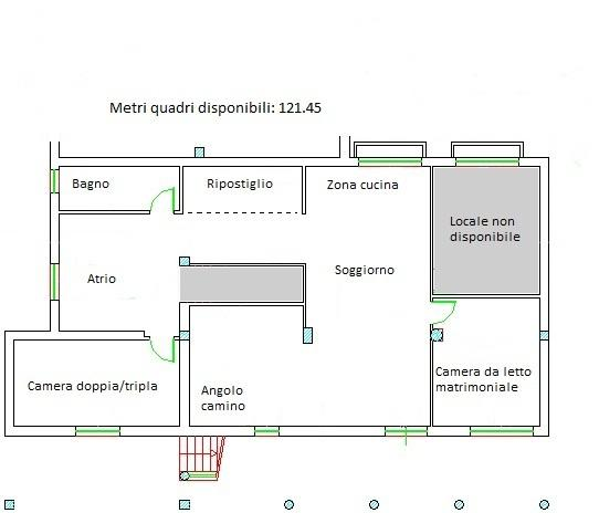 Planimetria della casa 123 mq.