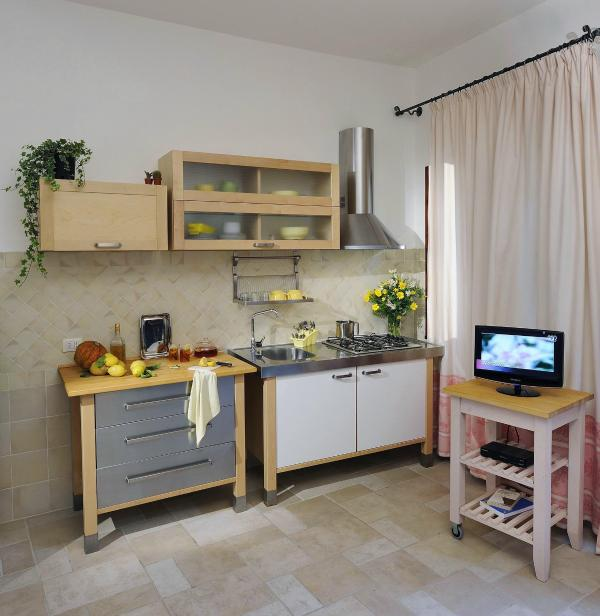 living room with kitchenette and functional