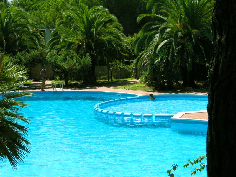 Swimming pool surrounded by greenery with a children's pool and security personnel