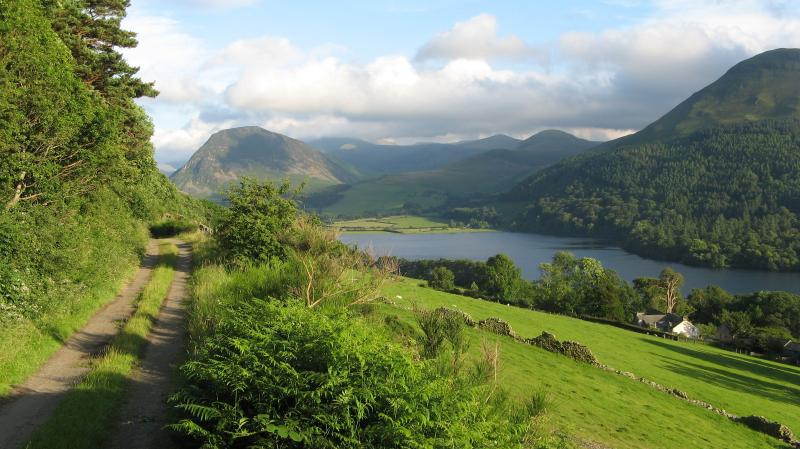 Loweswater as seen in the film Miss Potter. The old  Mosser road is a short walk from the apartment