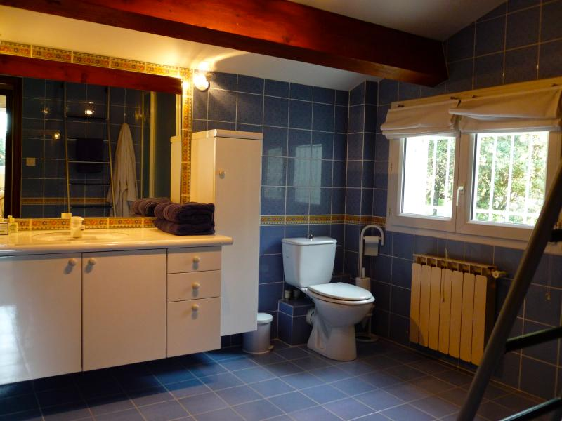 Upstairs bathroom with shower & toilet