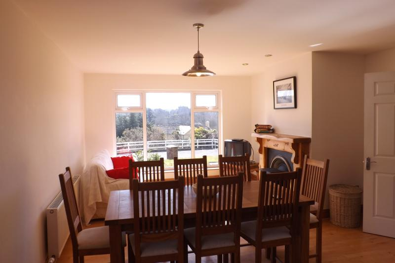 Kitchen Dining Table with view of Blarney castle and village
