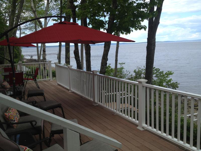 Large upper Deck overlooking the bay. Eat or relax on the comfortable patio furniture.