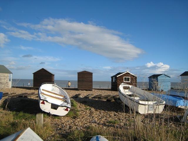 Kingsdown - beach huts, boats, beach, sea and a traditional pub