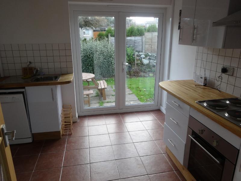 Kitchen with patio door