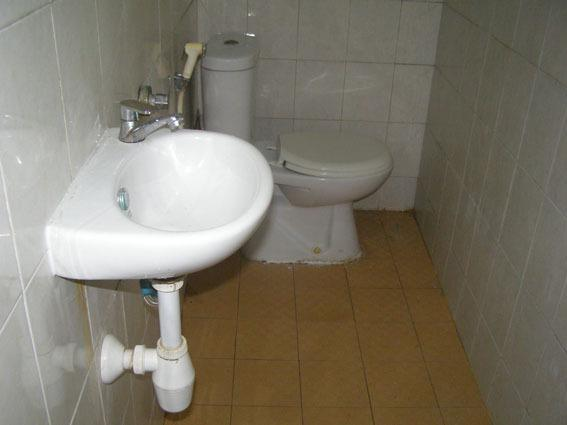 Sink and toilet at shower - more view