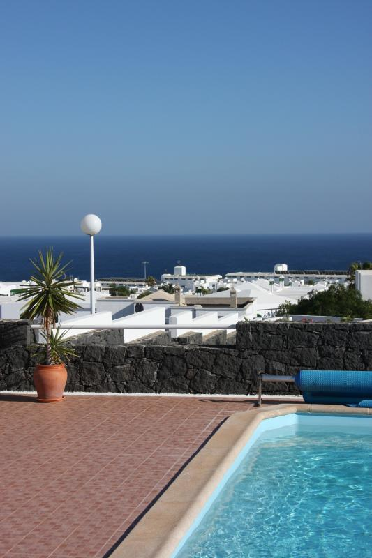 The view from the sun terrace towards the sea