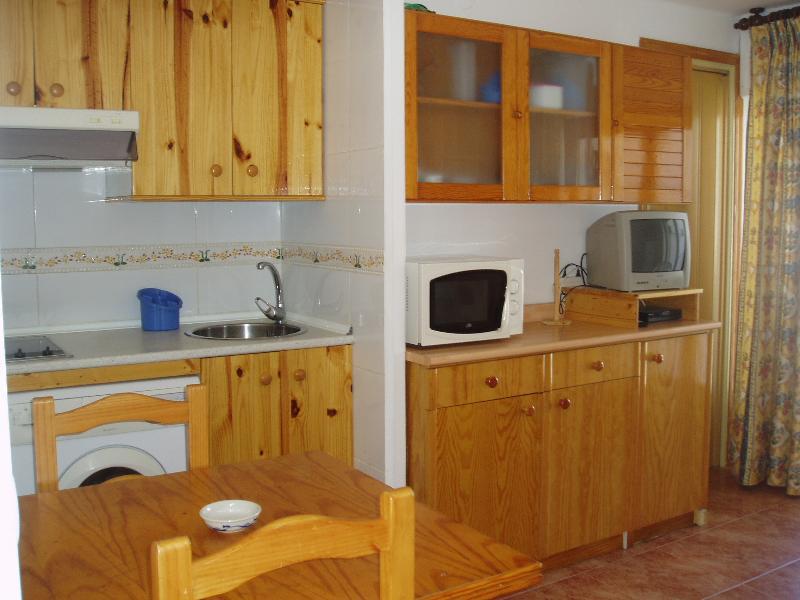 Salón-Cocina con mobiliario de pino natural.
