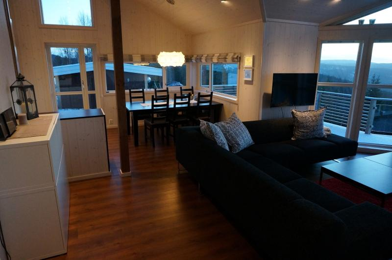View of livingroom and kitchen table
