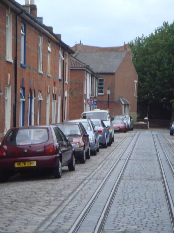 Rugby road -old tram lines in cobbled street no longer used