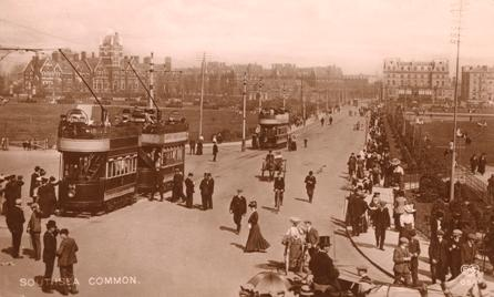 Tram terminus Southsea Common early 1900's