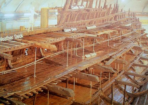 The hull of the Mary Rose - on display in the Mary Rose Ship Hall, Portsmouth Historic Dockyard.