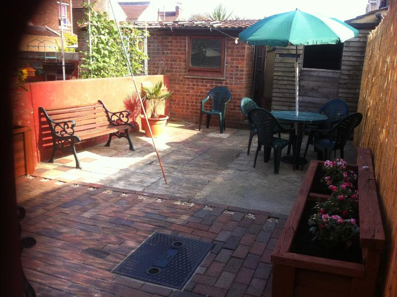 The courtyard garden with sunny patio / barbecue area