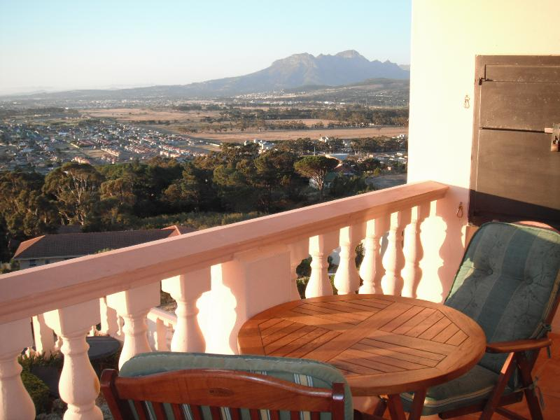 Merlot Balcony looking towards the Helderberg mountain