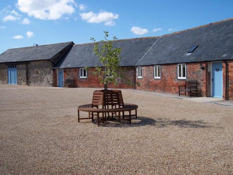 The courtyard with wheelchair friendly gravel.