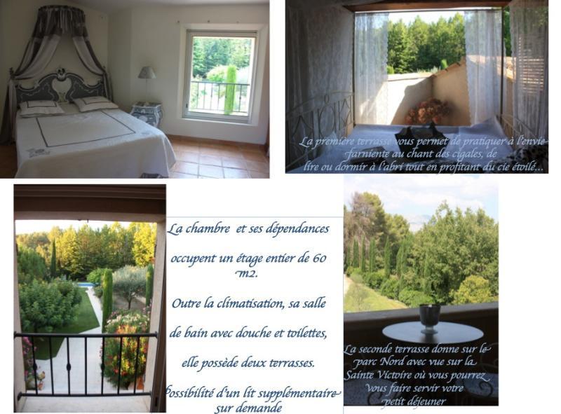 The Blue Room La Roque has two terraces. North Sainte-Victoire Montain view, South the garden