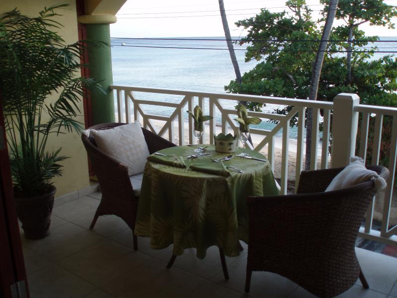 Balcony overlooking the Caribbean